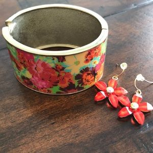 Jewelry - Floral Bracelet and Earrings.